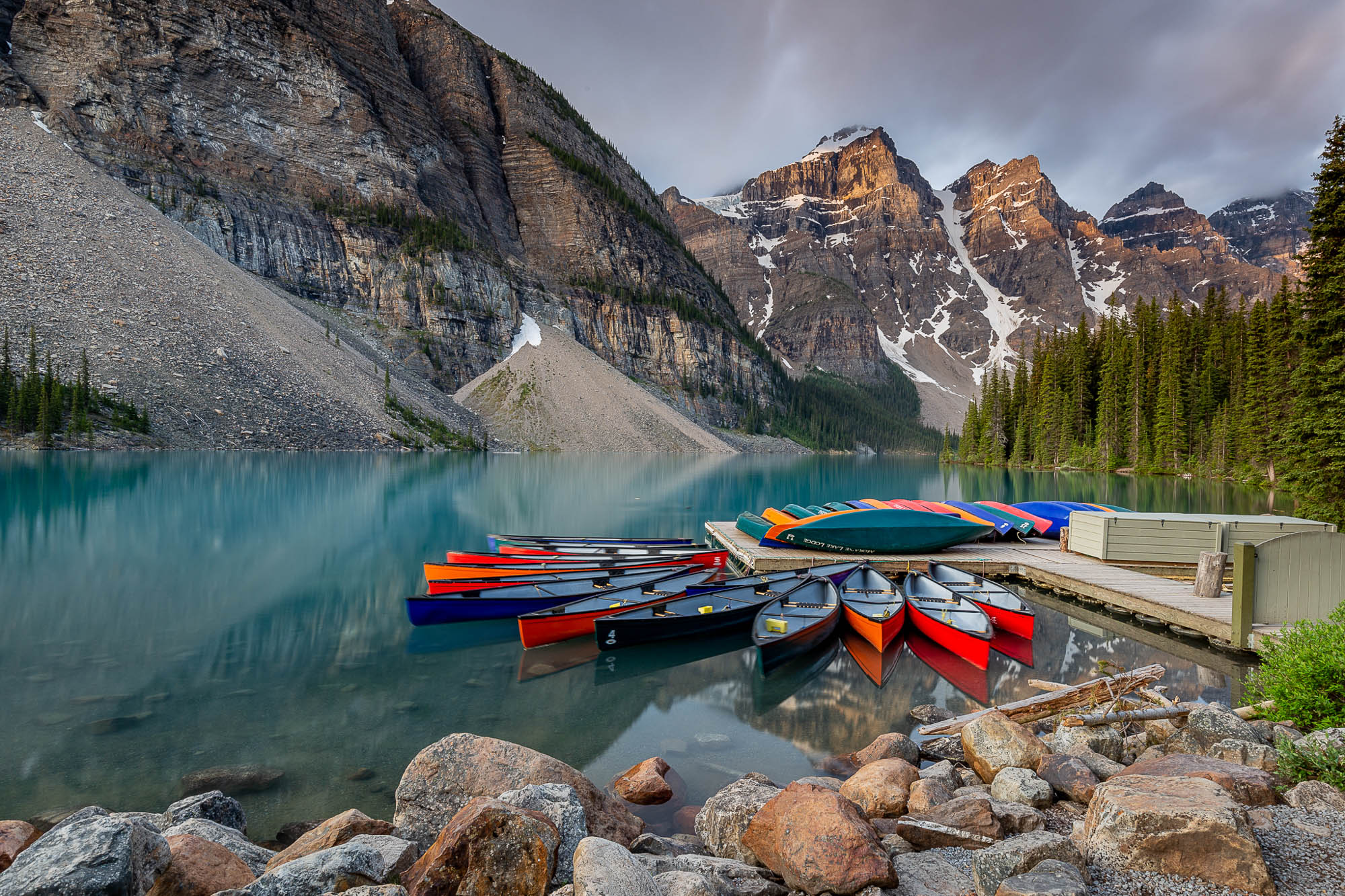 Careful composition and arrangement in camera beats post-processing every time. Moraine Lake in Banff National Park, Canada