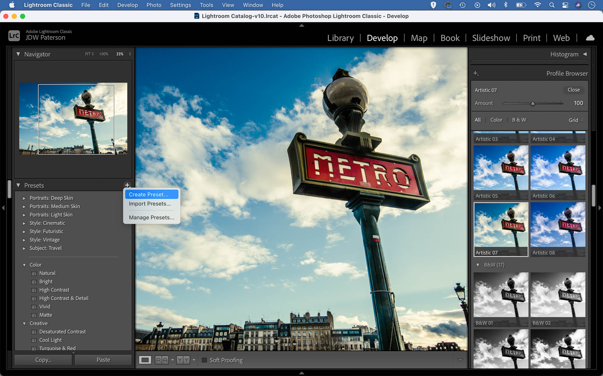 Screenshot showing the preset feature in Lightroom Classic