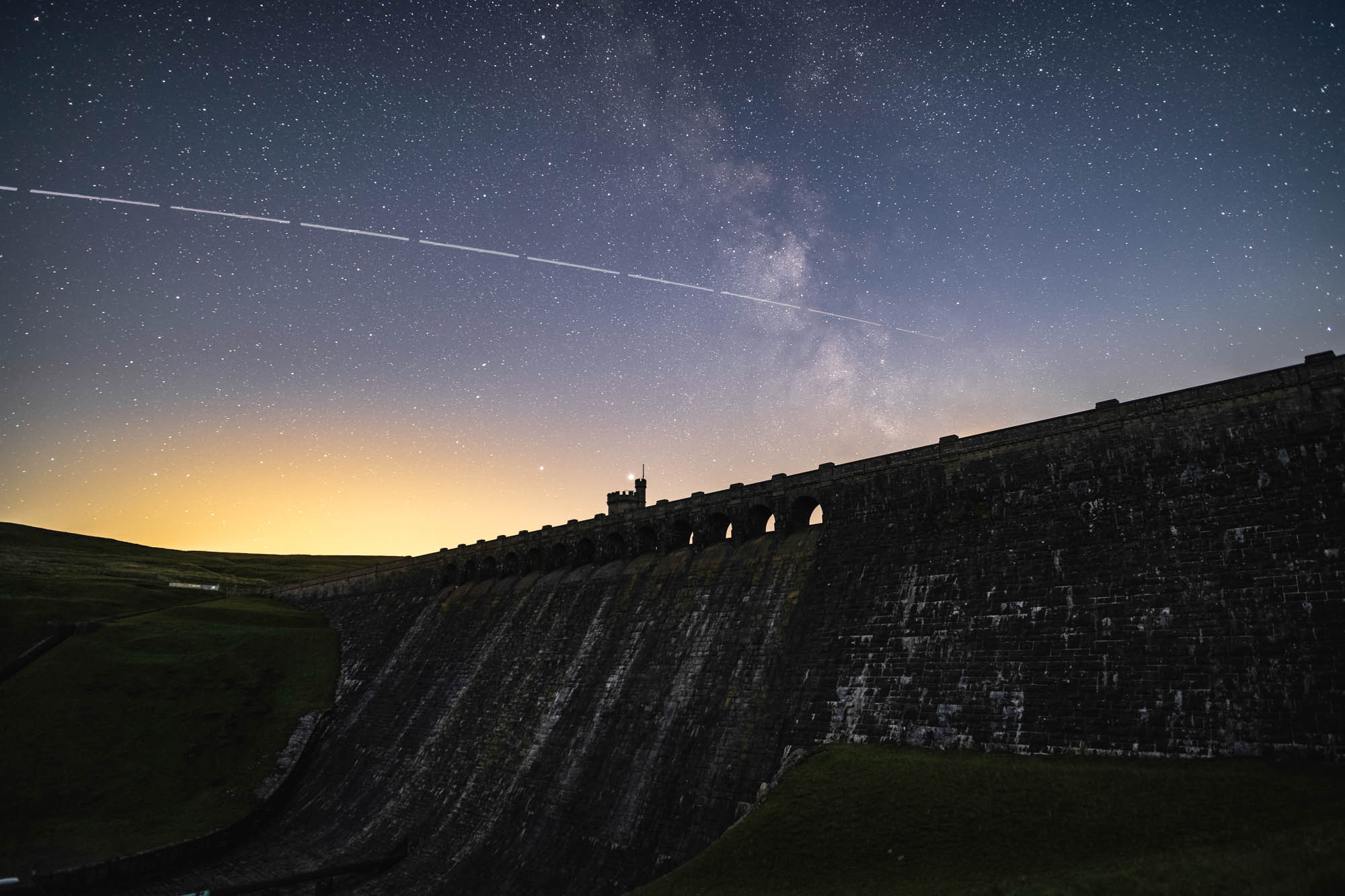 International Space Station floating above Angram Dam in Lofthouse, Yorkshire