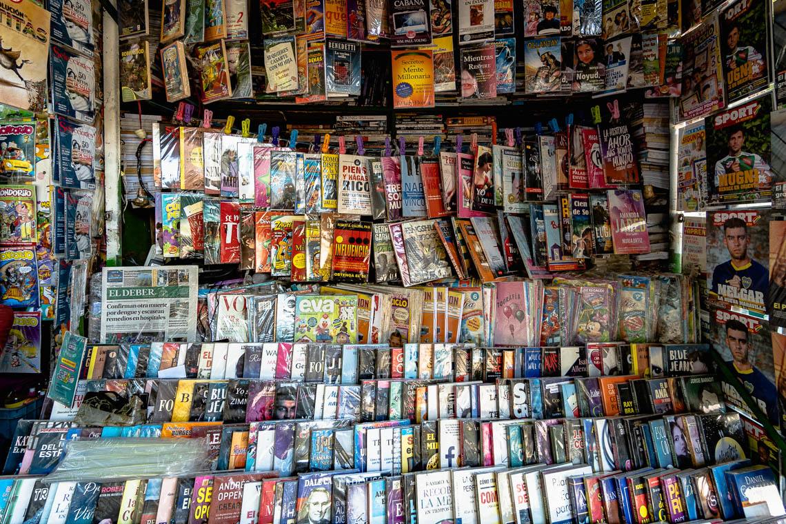 A magazine stall in La Paz, Bolivia