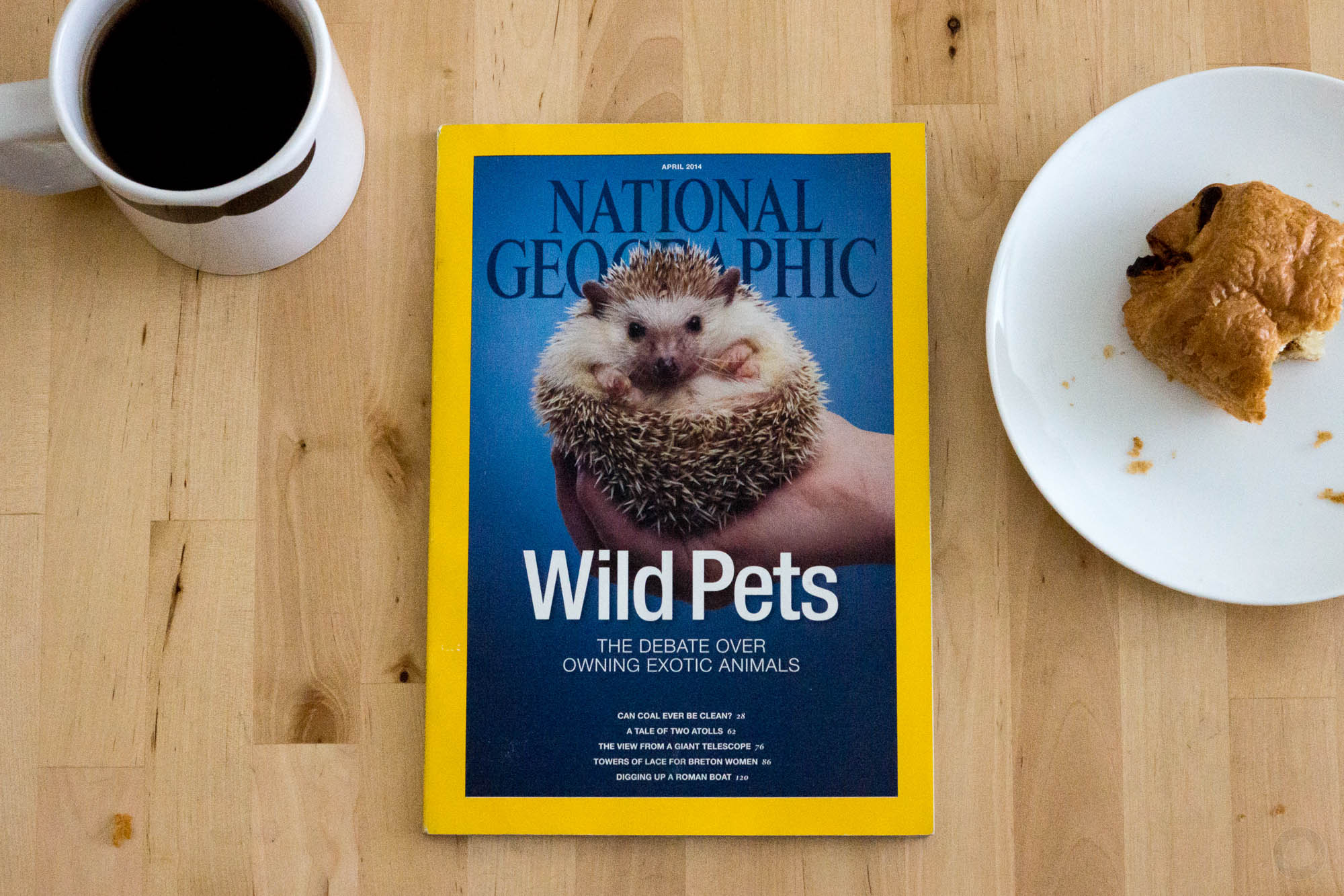 National Geographic magazine on a breakfast table