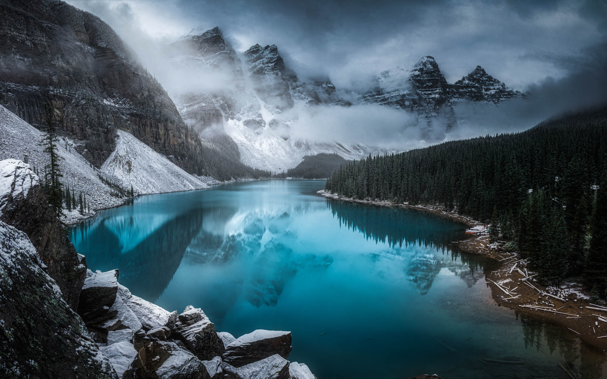 A misty day at Moraine Lake, Canada