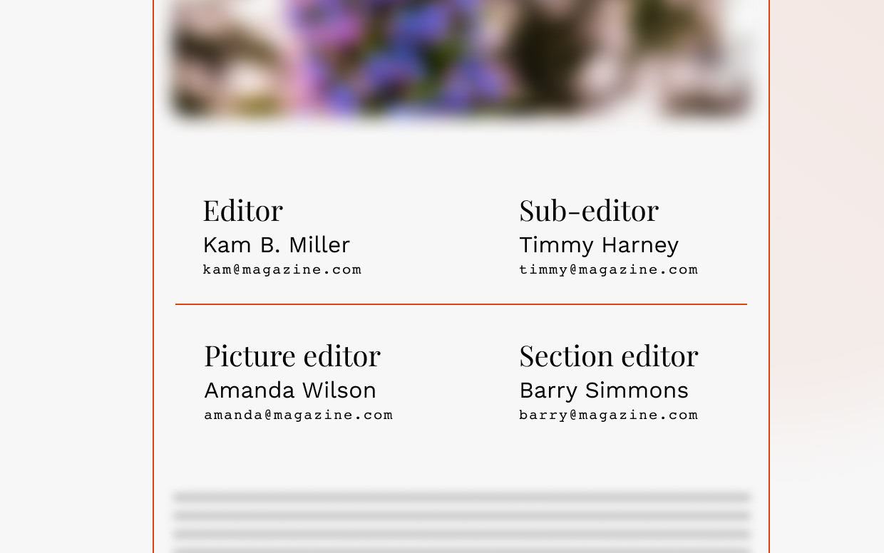 Mockup of a flannel pannel in a magazine with contact details for Editors