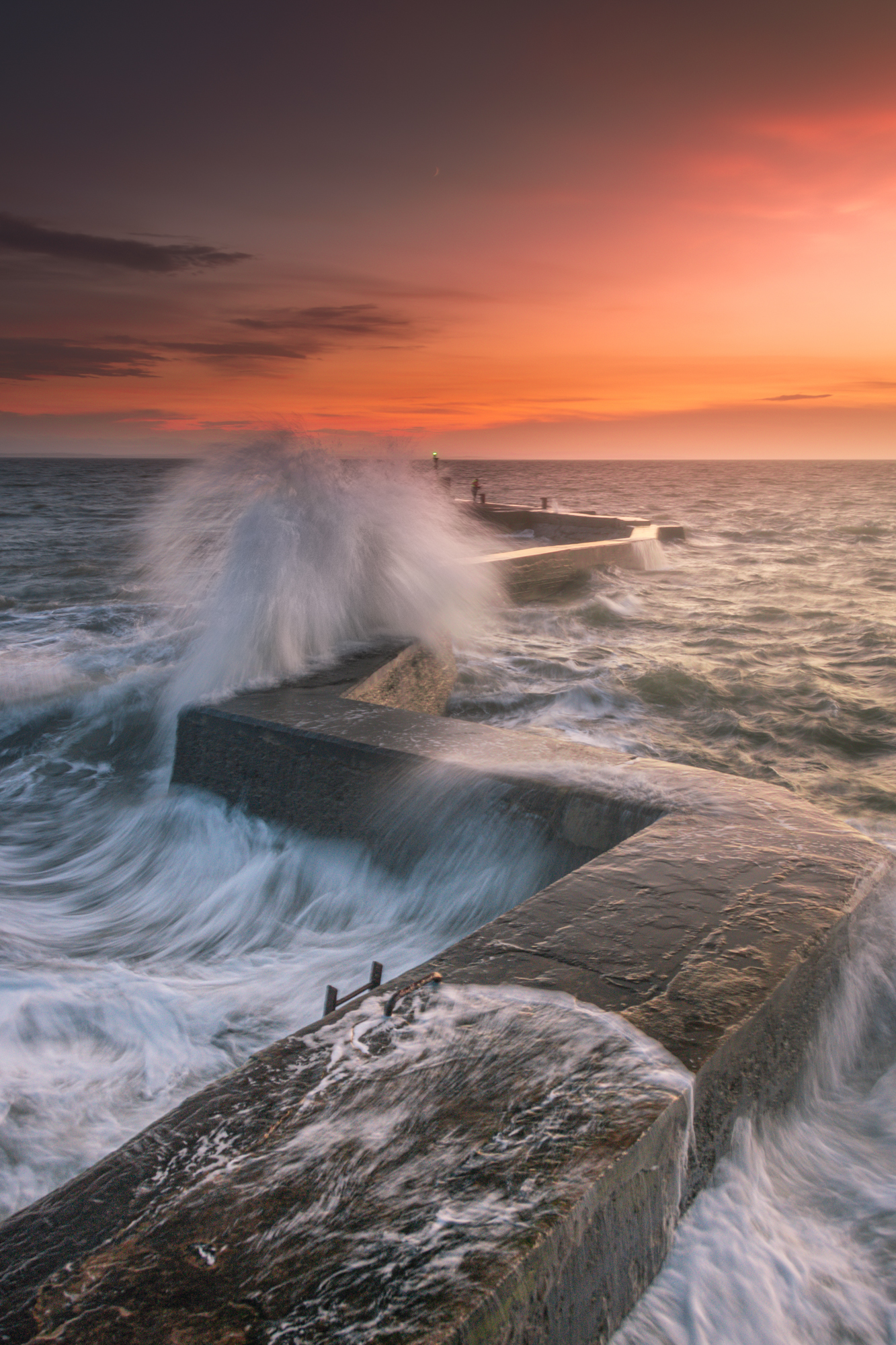 A December sunset on a windy day at The Blocks, St Monans. The Blocks is also known as the zig zag pier. A popular spot with photographers.