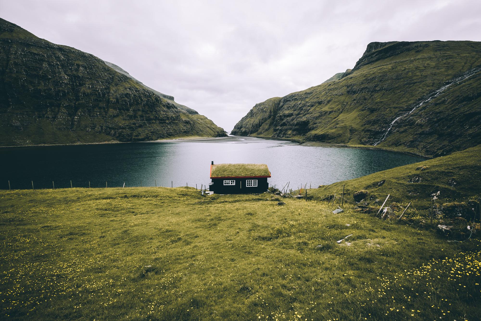 Cottage in the Faroe Islands, seascape