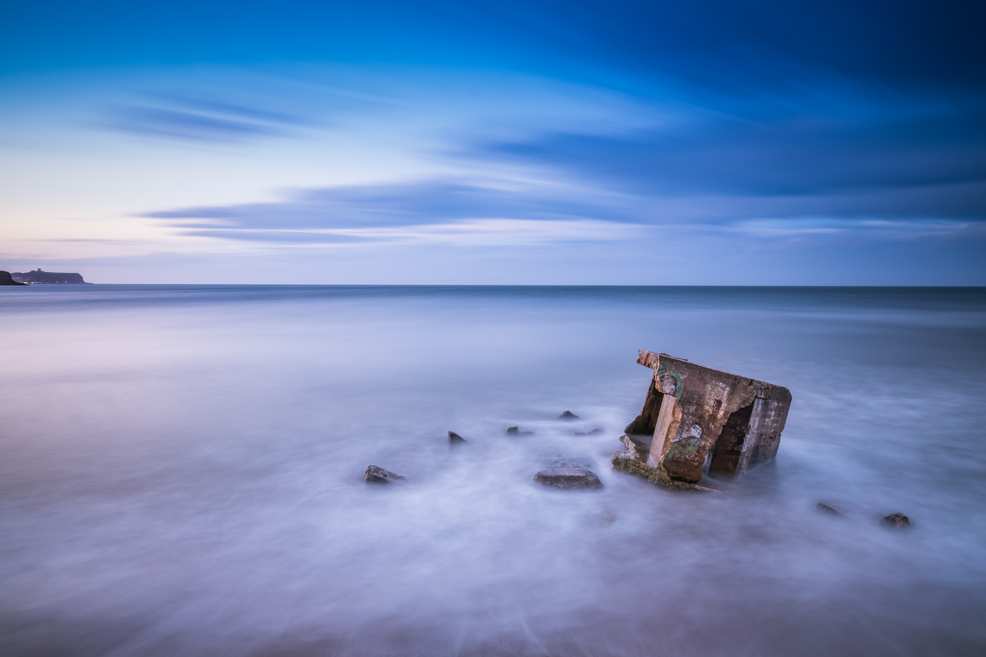 Blue Hour Pillar Boxes at Cayton Bay, North Yorkshire