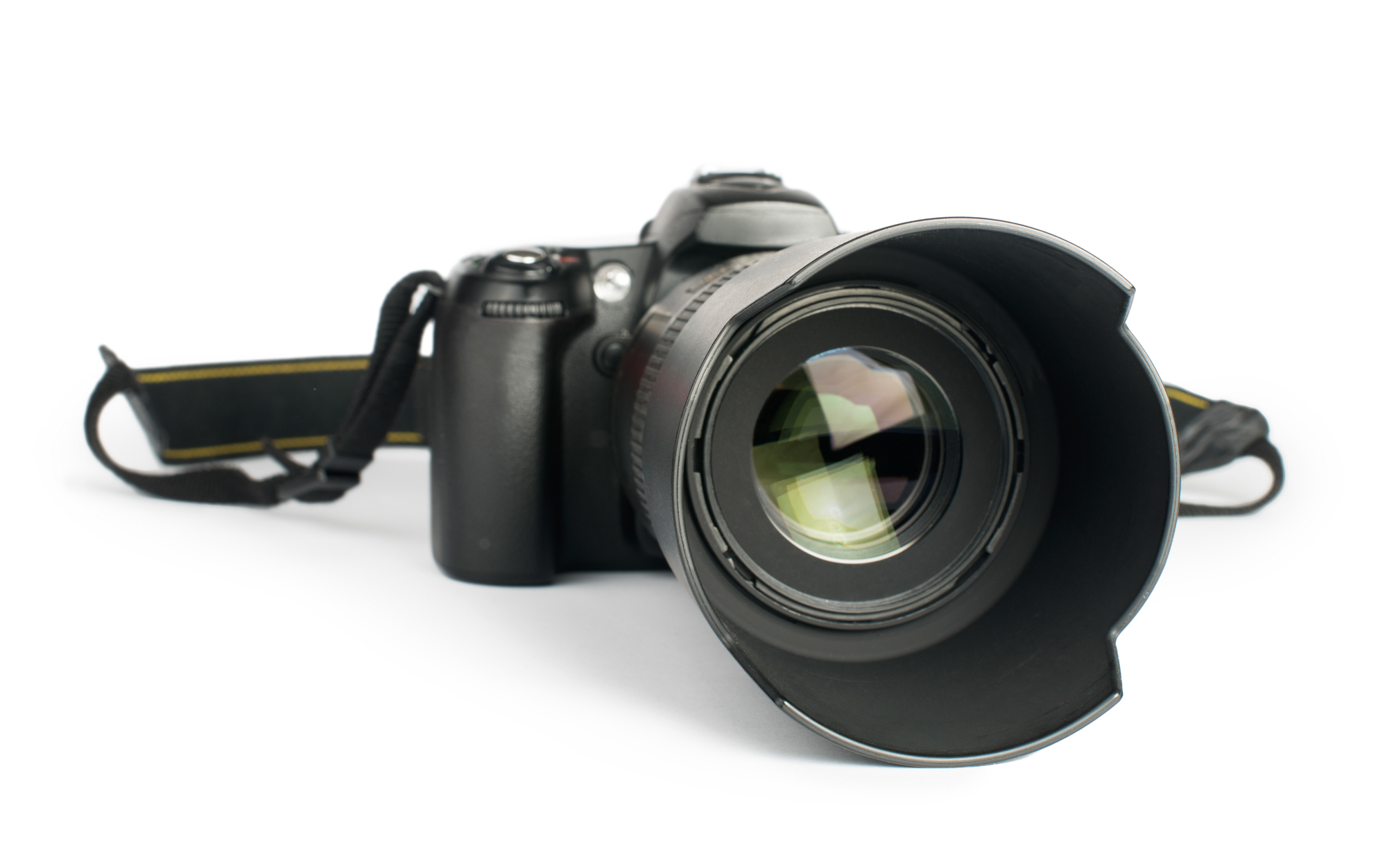 DSLR camera with a zoom lens white isolated studio shot.
