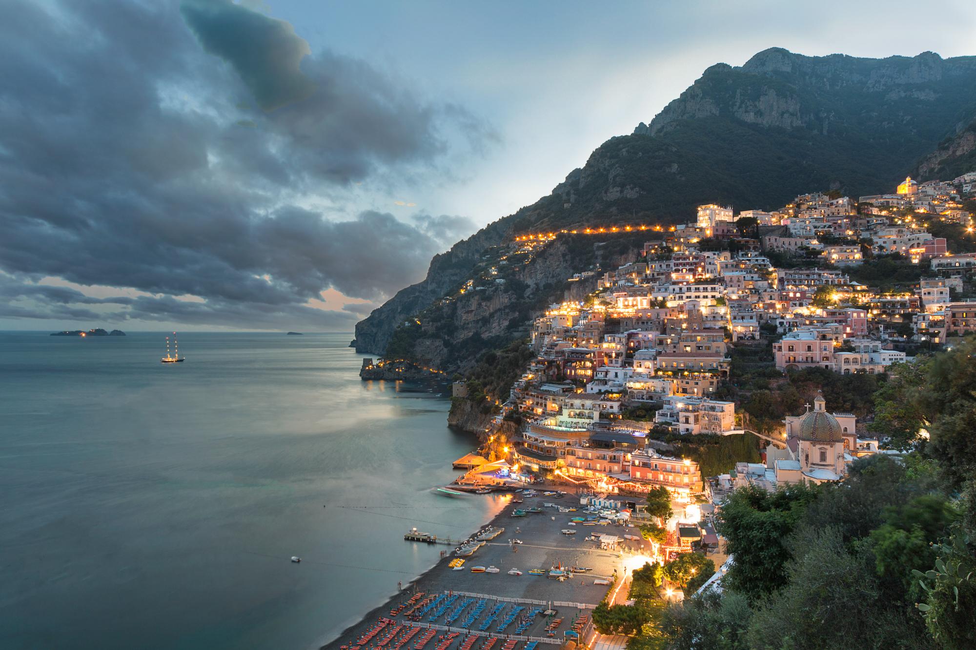 Dusk view of Positano, on the Amalfi Coast, Italy