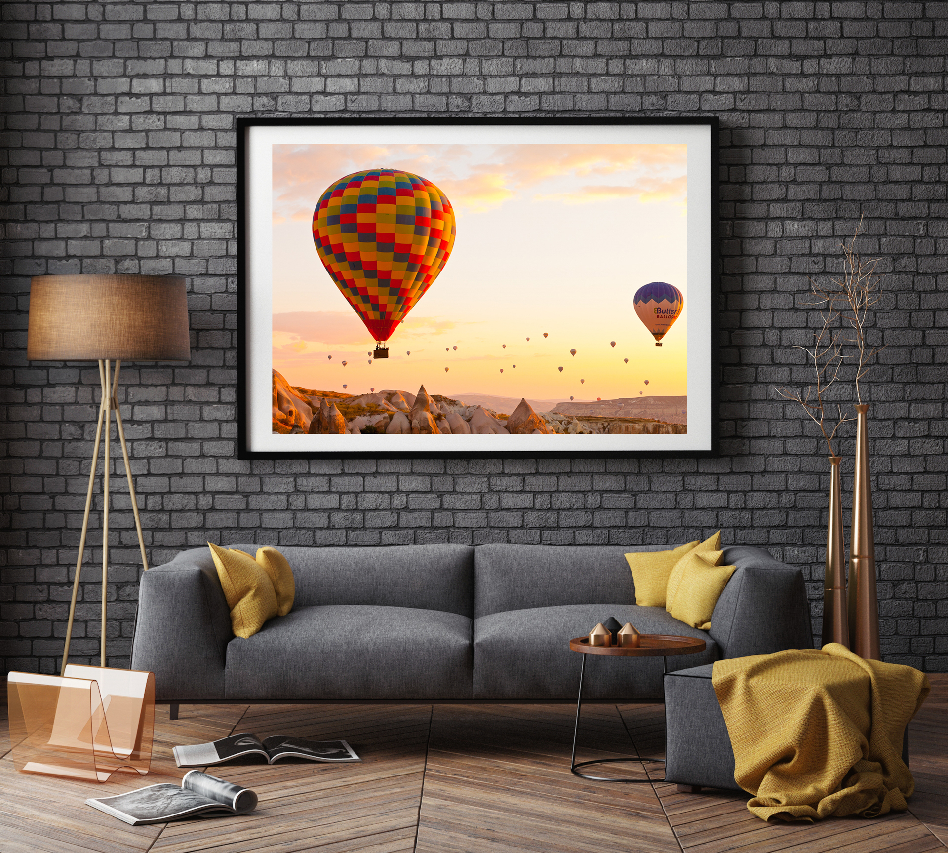 Mockup of a large photographic print in a living room