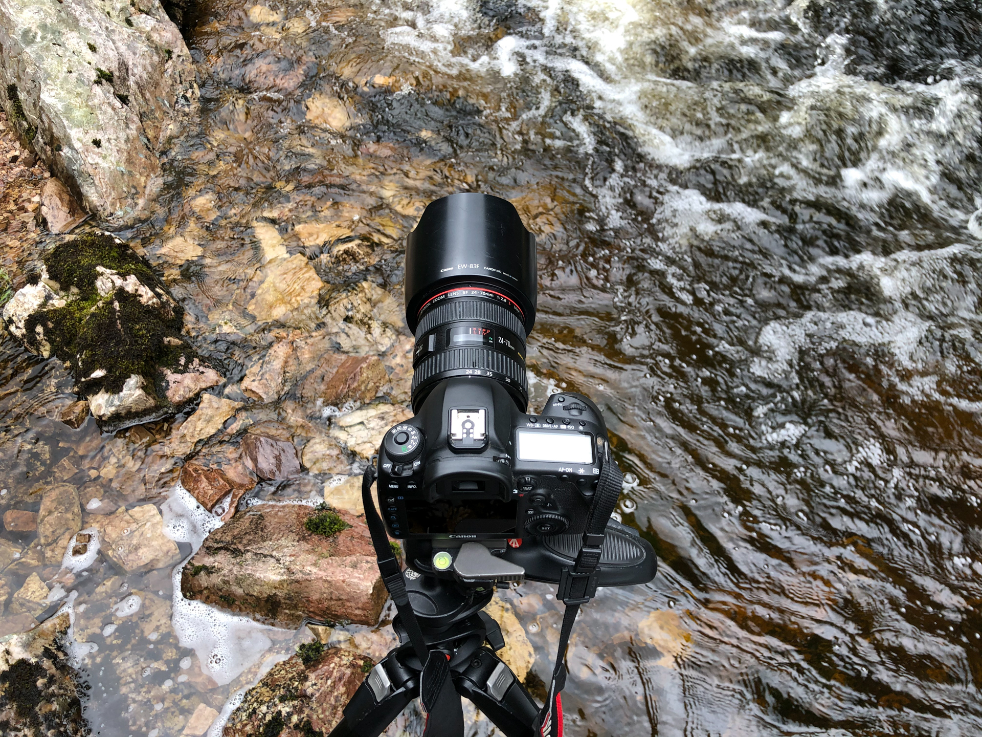 Camera perched on a tripod in a stream