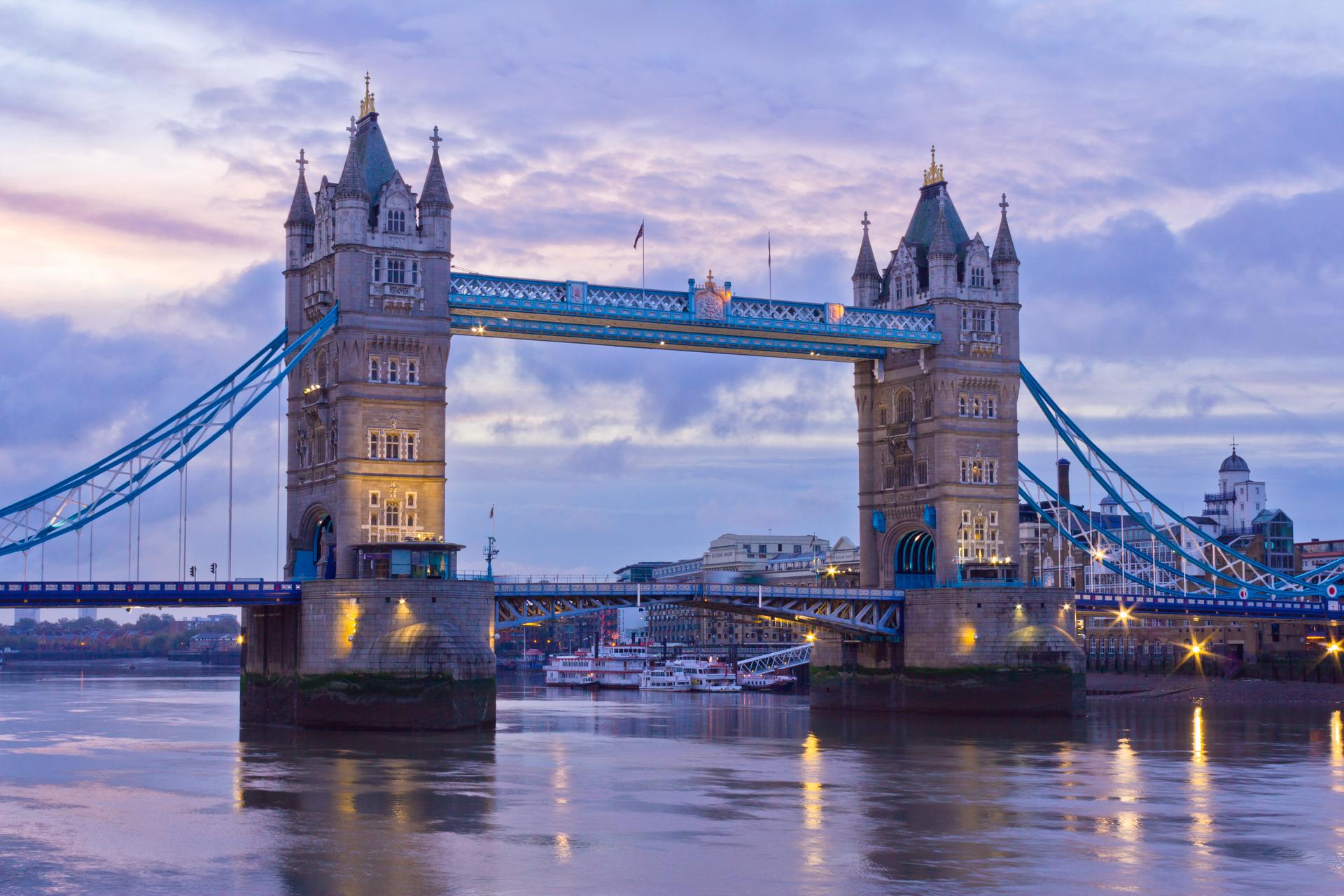 Tower Bridge, London, at dusk taken with a crop sensor camera
