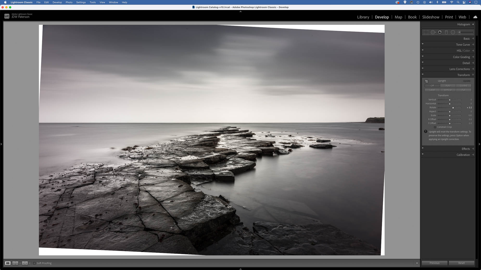 Screenshot showing a rotated image to level the horizon in the scene in Adobe Lightroom
