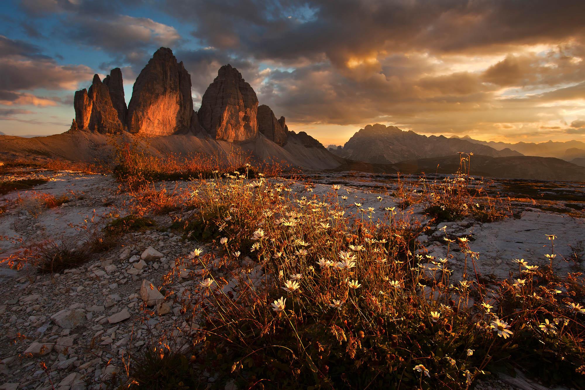 Sunset at the three monoliths. Eastern Dolomites-Italian Alps.