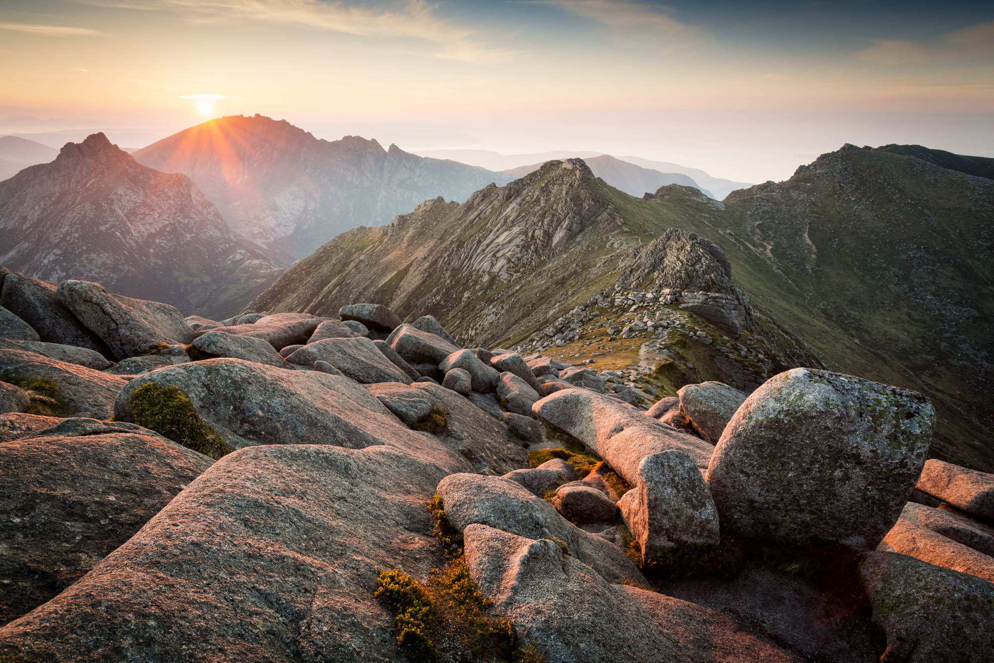 Sunset from Goat Fell, highest mountain on the beautiful Isle of Arran, Scotland.