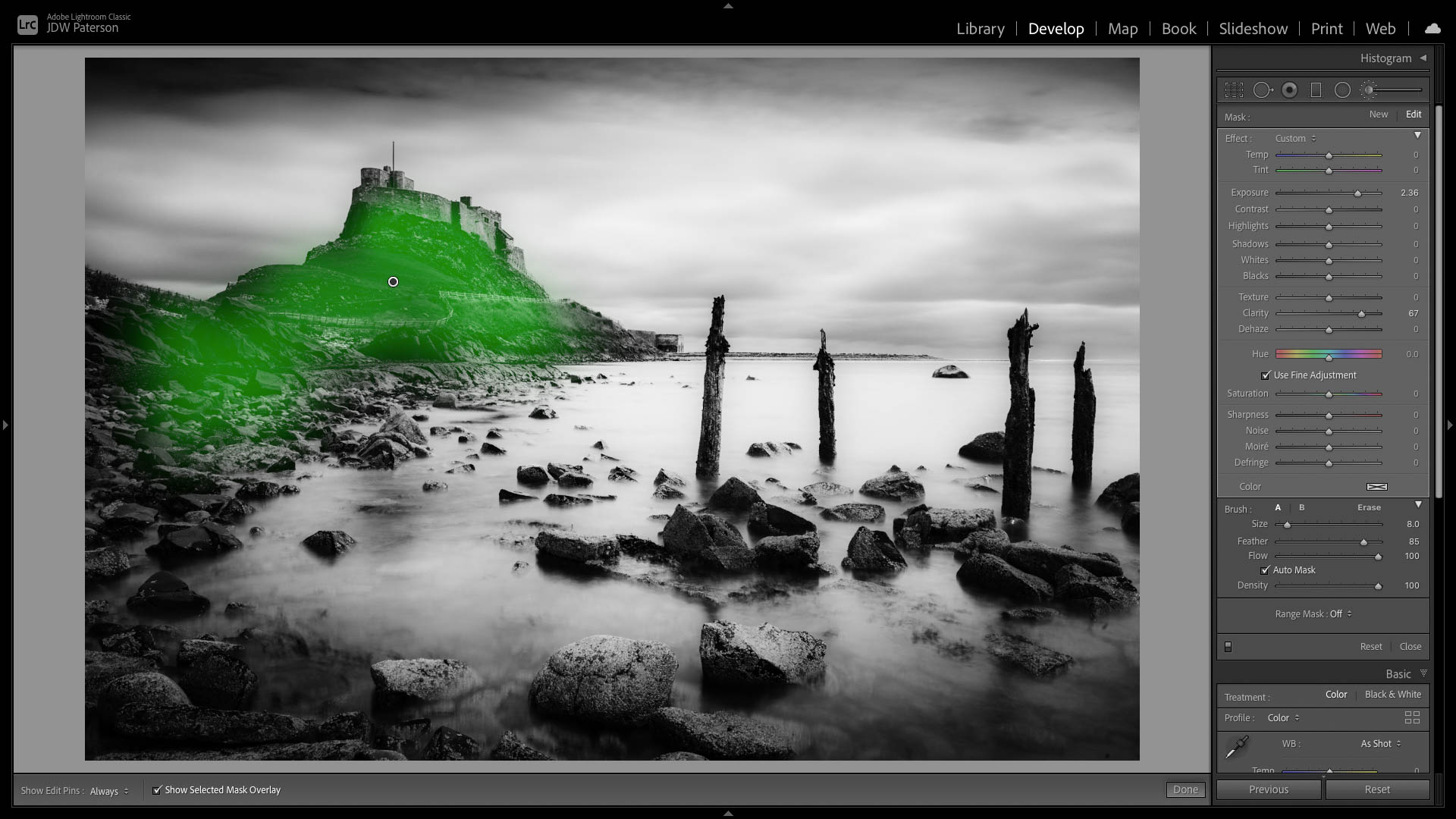 Lightroom screenshot showing painting Clarity selectively with the Adjustment Brush
