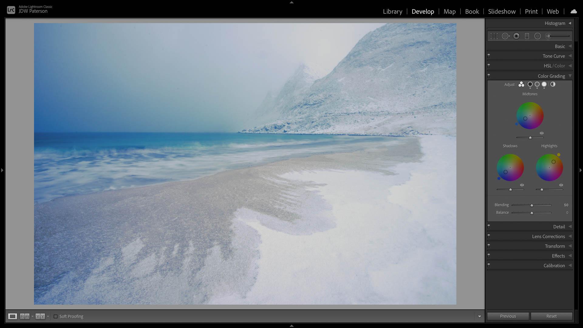 Screenshot showing the color grading panel in Lightroom