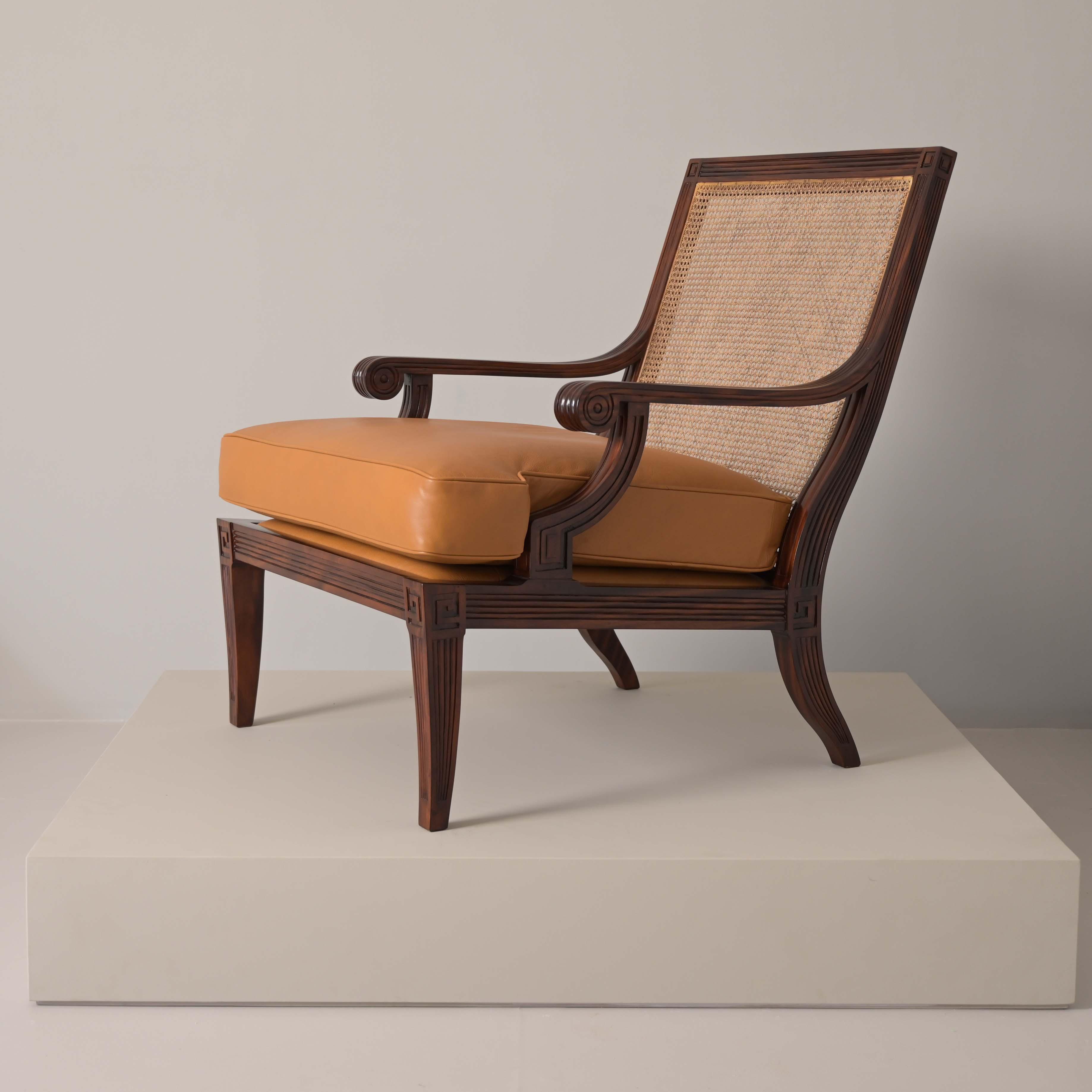 meander teak wood classic armchair furniture best fabric