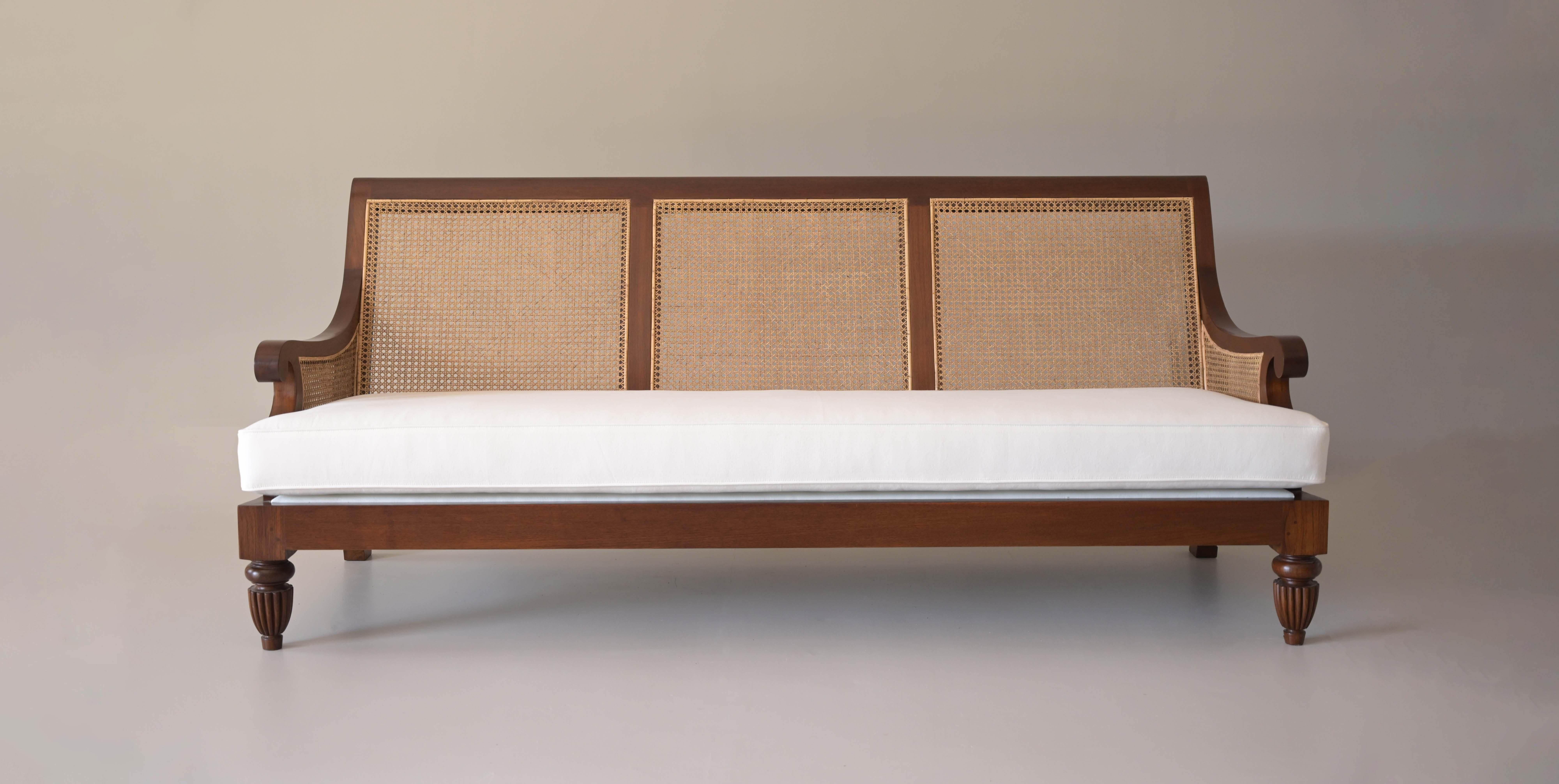 bergere sofa teak wood - fabric upholstered- rattan back