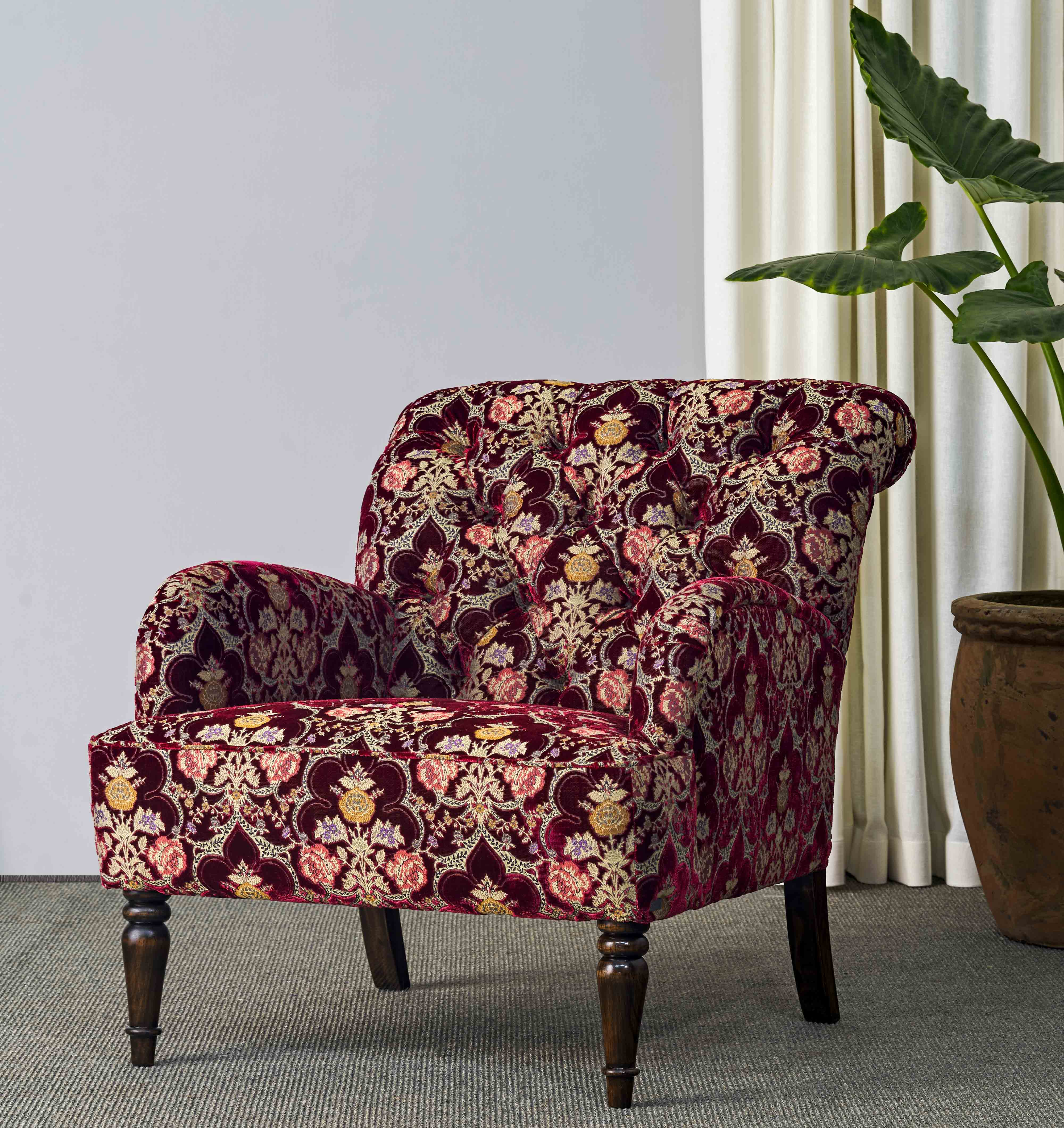 fabric upholstered armchair single seater