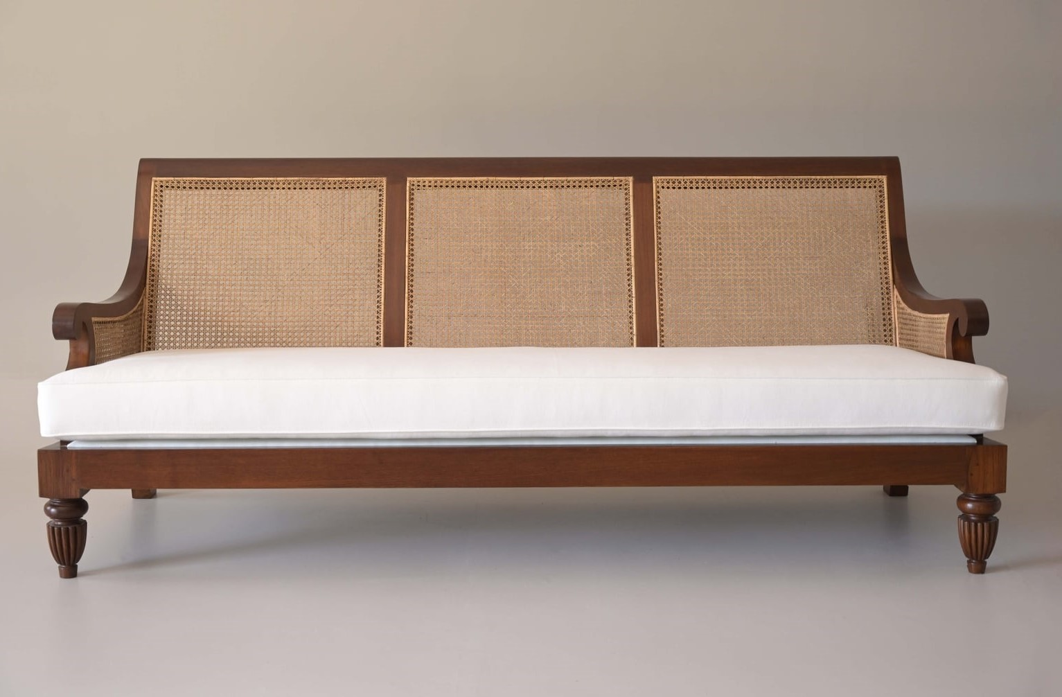 bergere sofa with fabric upholstery in teak wood best furniture