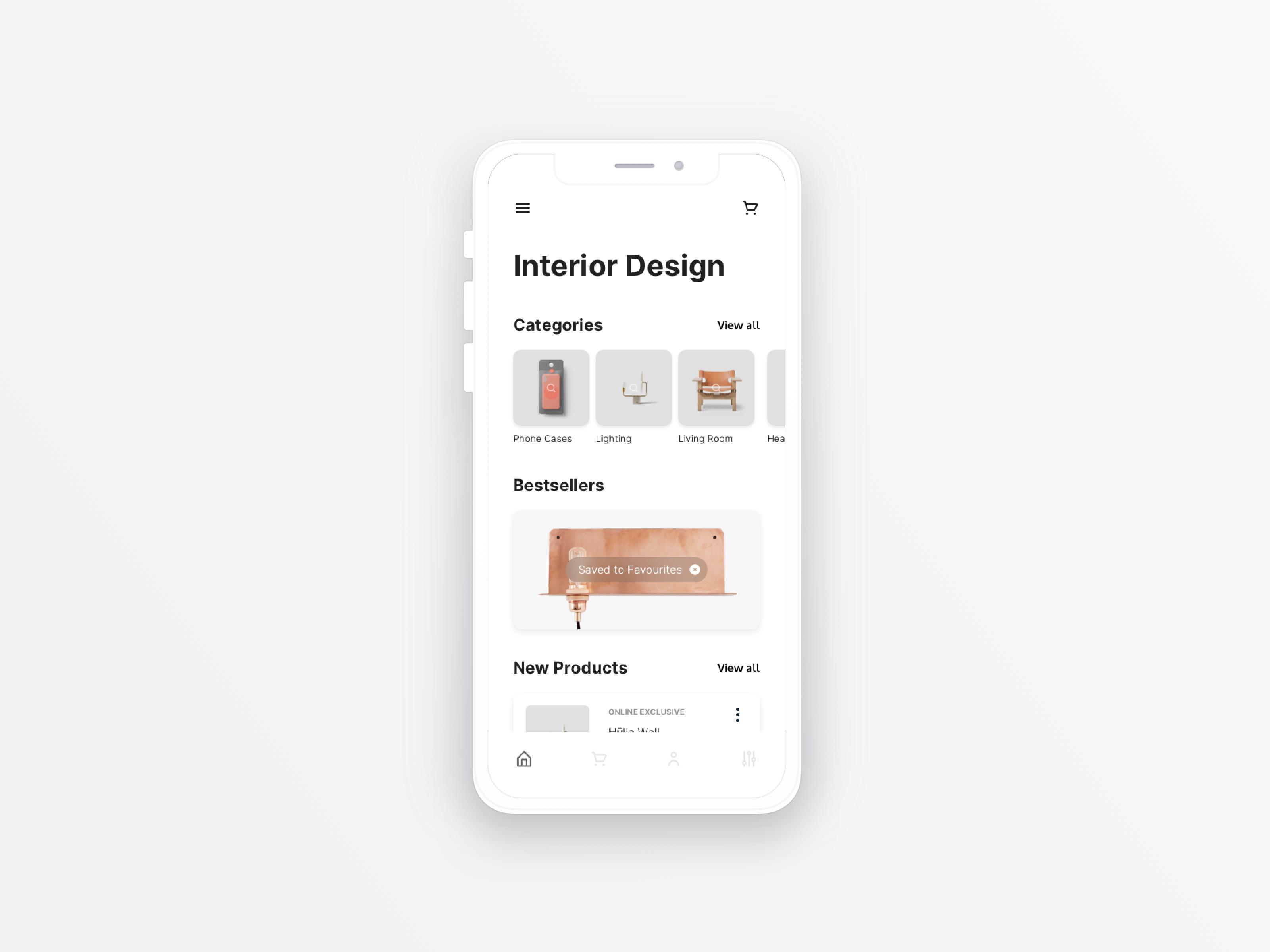 Image of UI for a Interior Design App