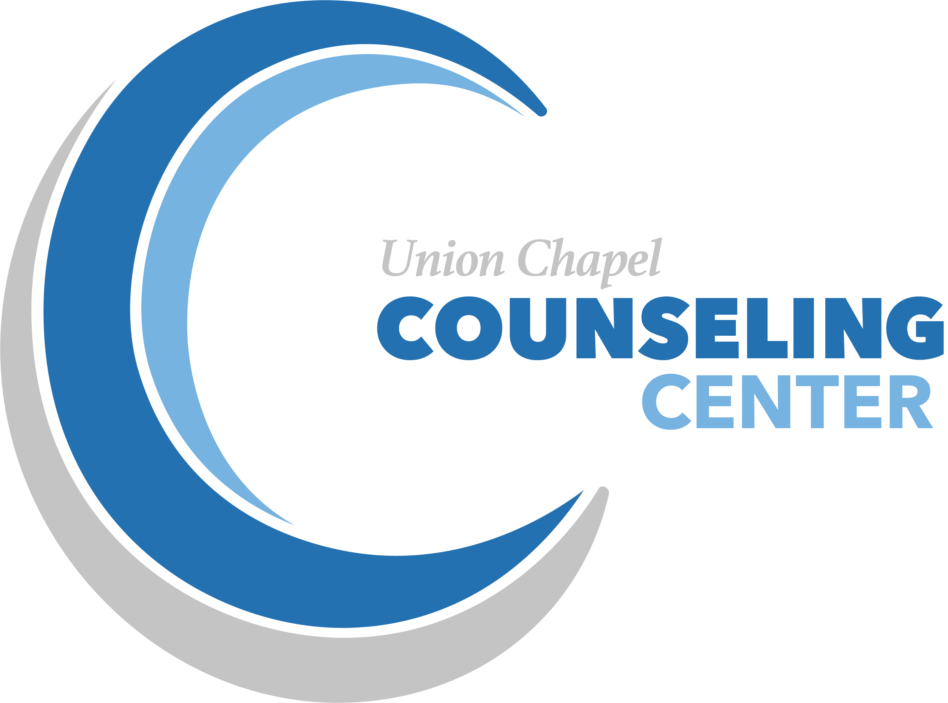 A blue and gray colored logo of The Counseling Center