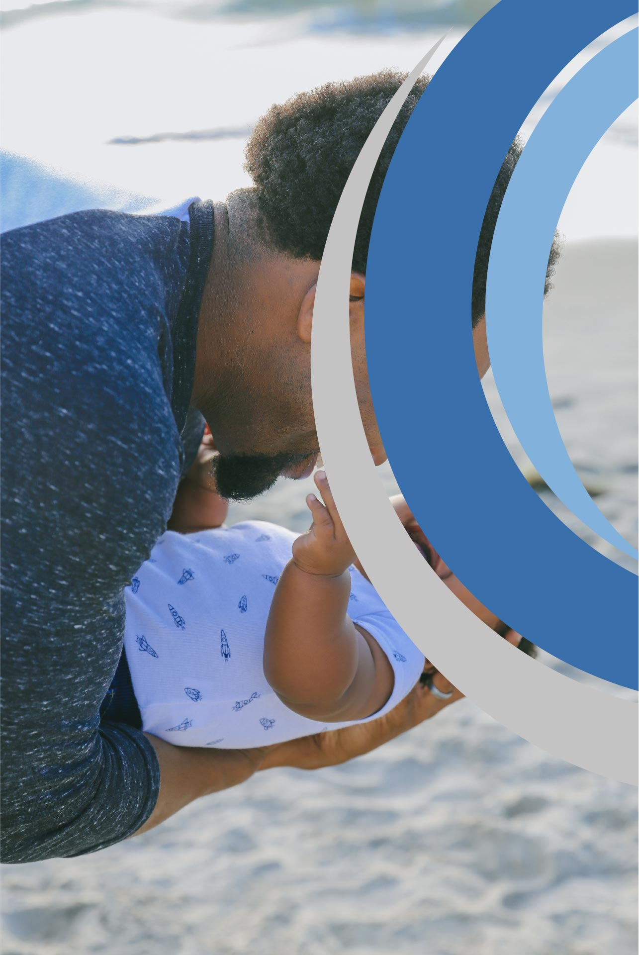 An anonymous photo of a man with his baby with The Counseling Center logo across their faces
