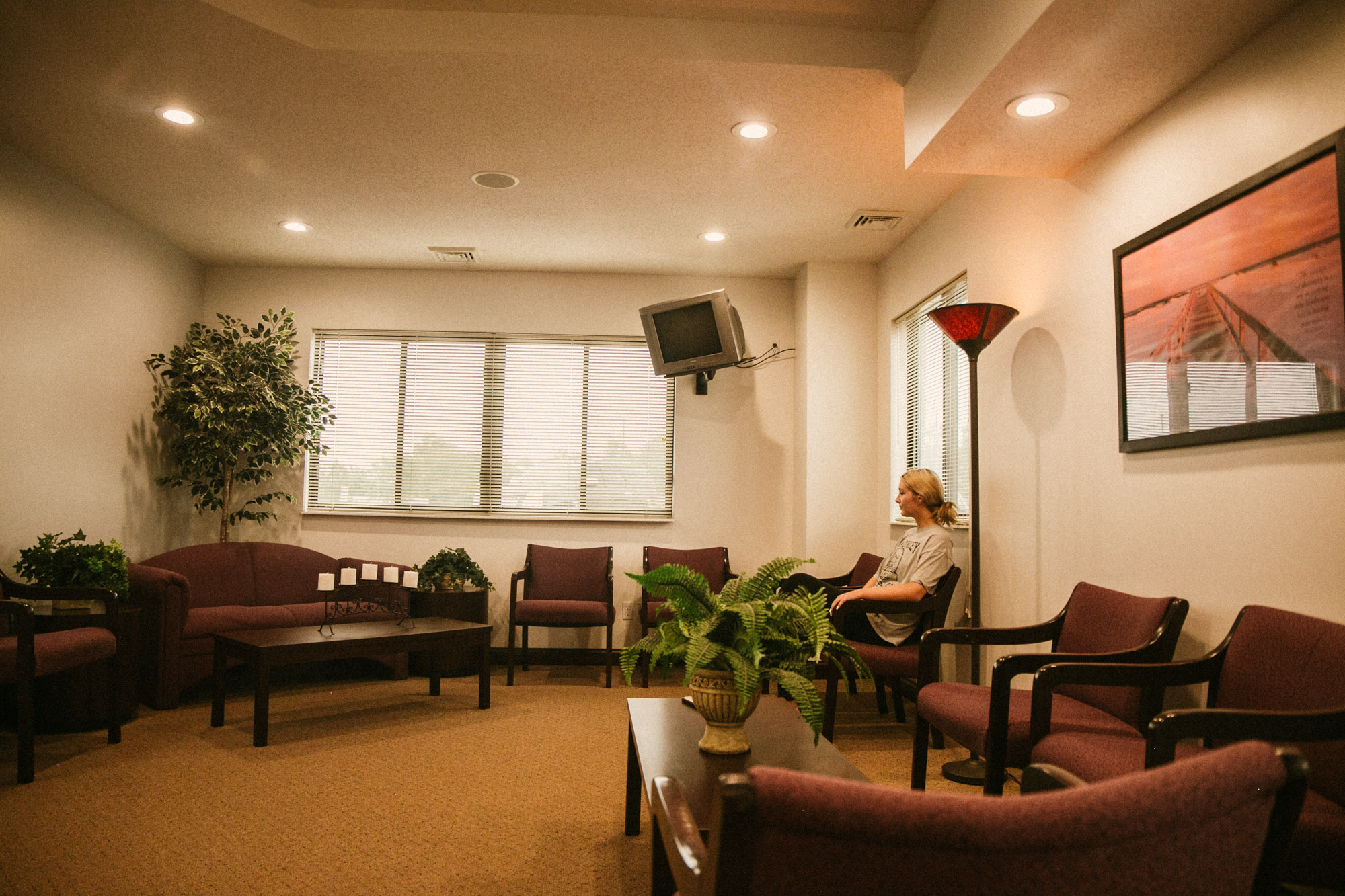 A client sits in an inviting waiting room