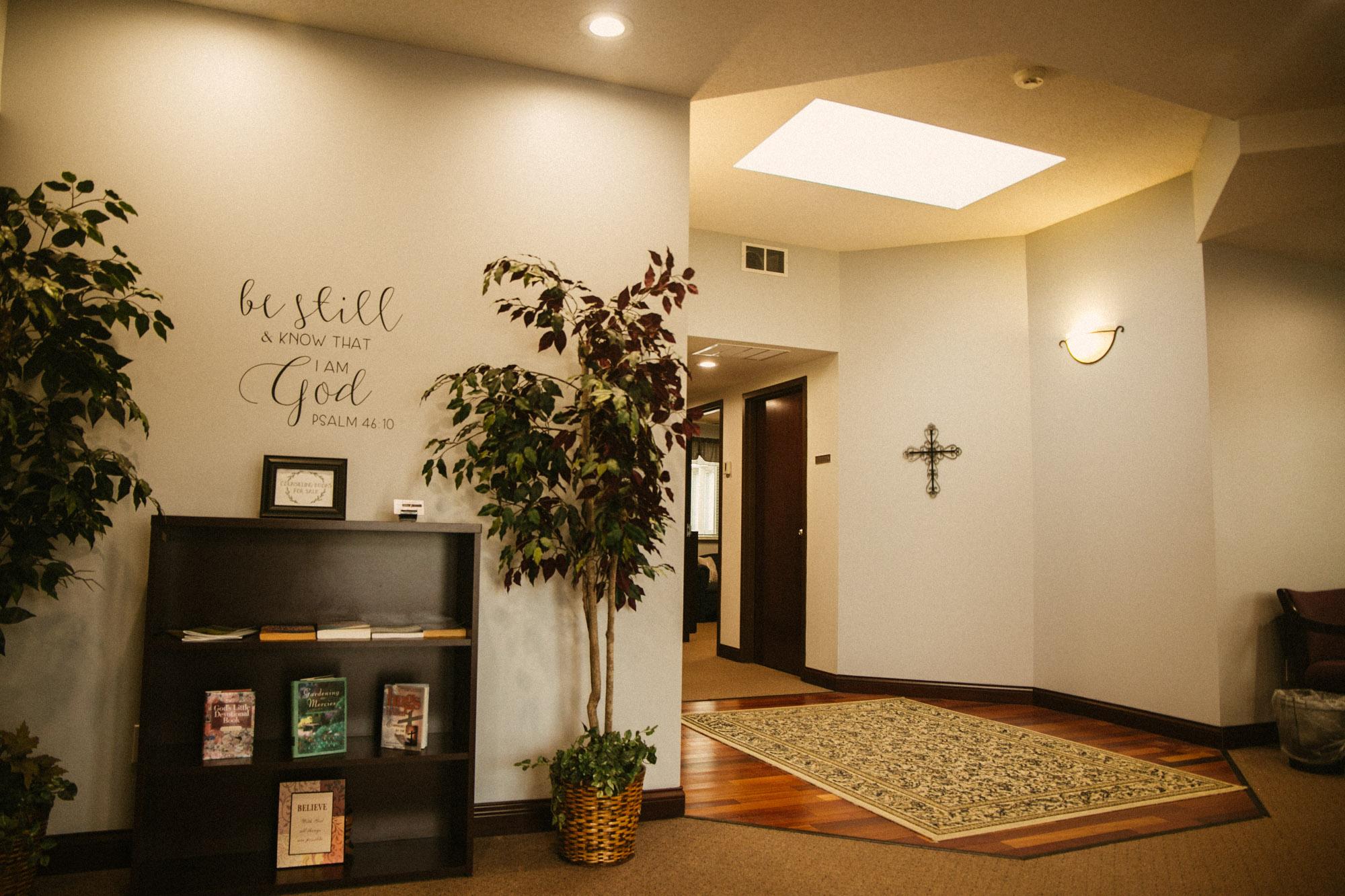 A warm, inviting hallway and lobby area