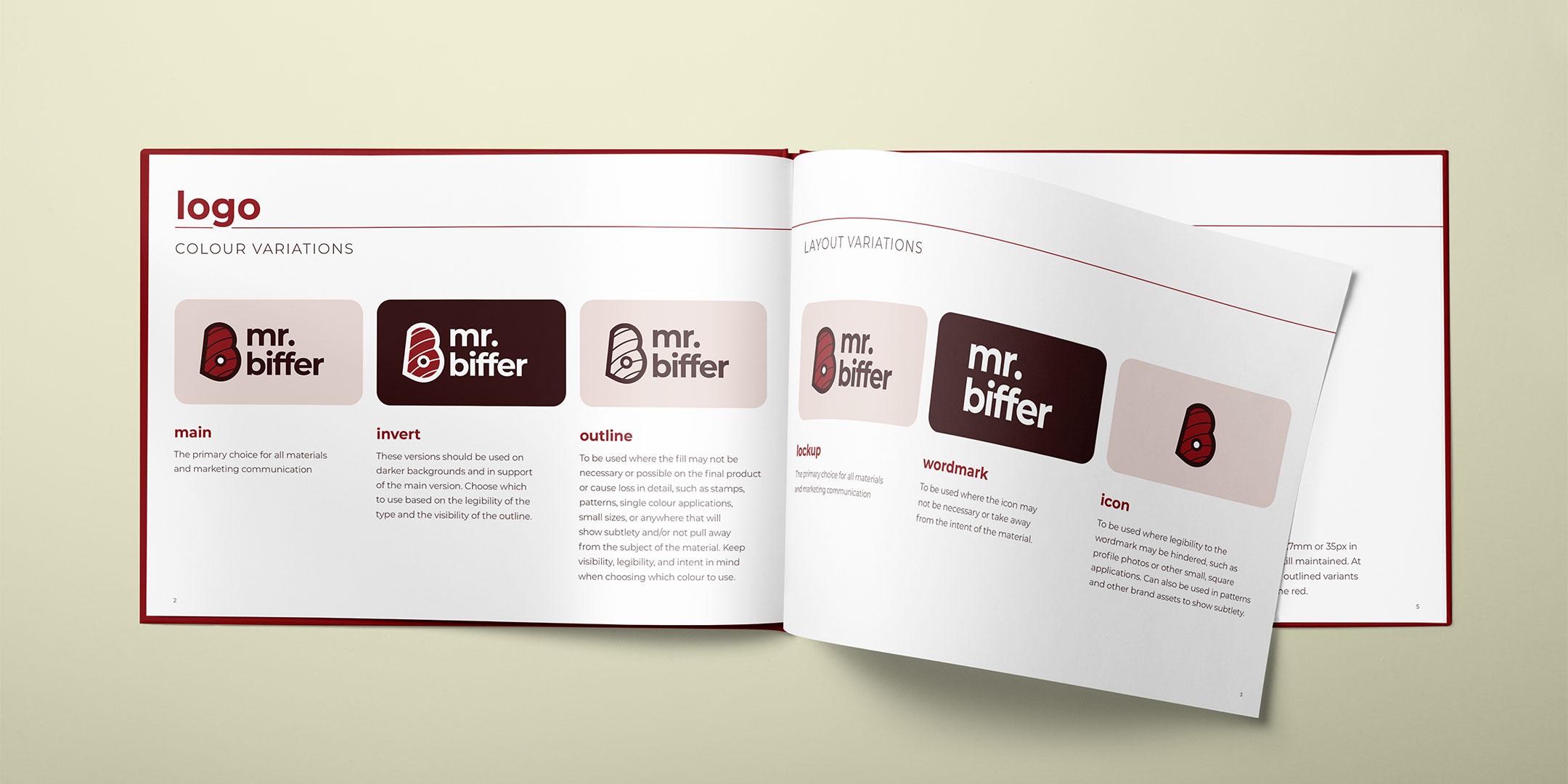 Mr. Biffer brand identity manual showing logo variants