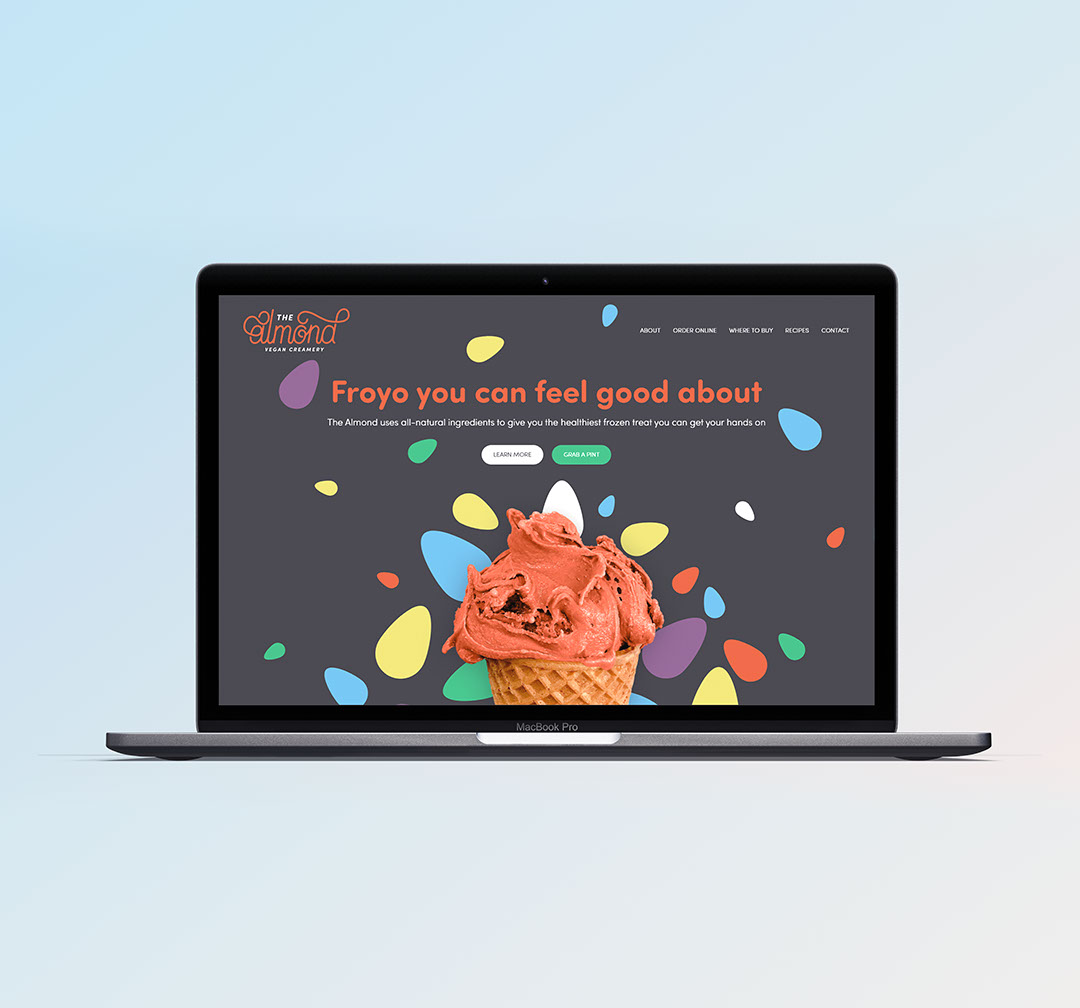 The Almond's landing page on desktop