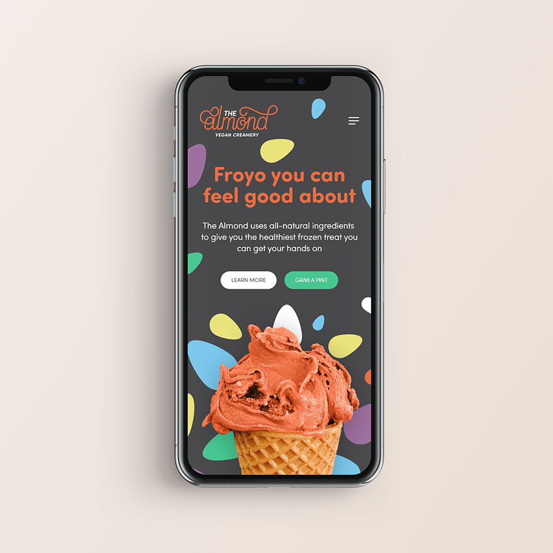 The Almond's landing page on mobile