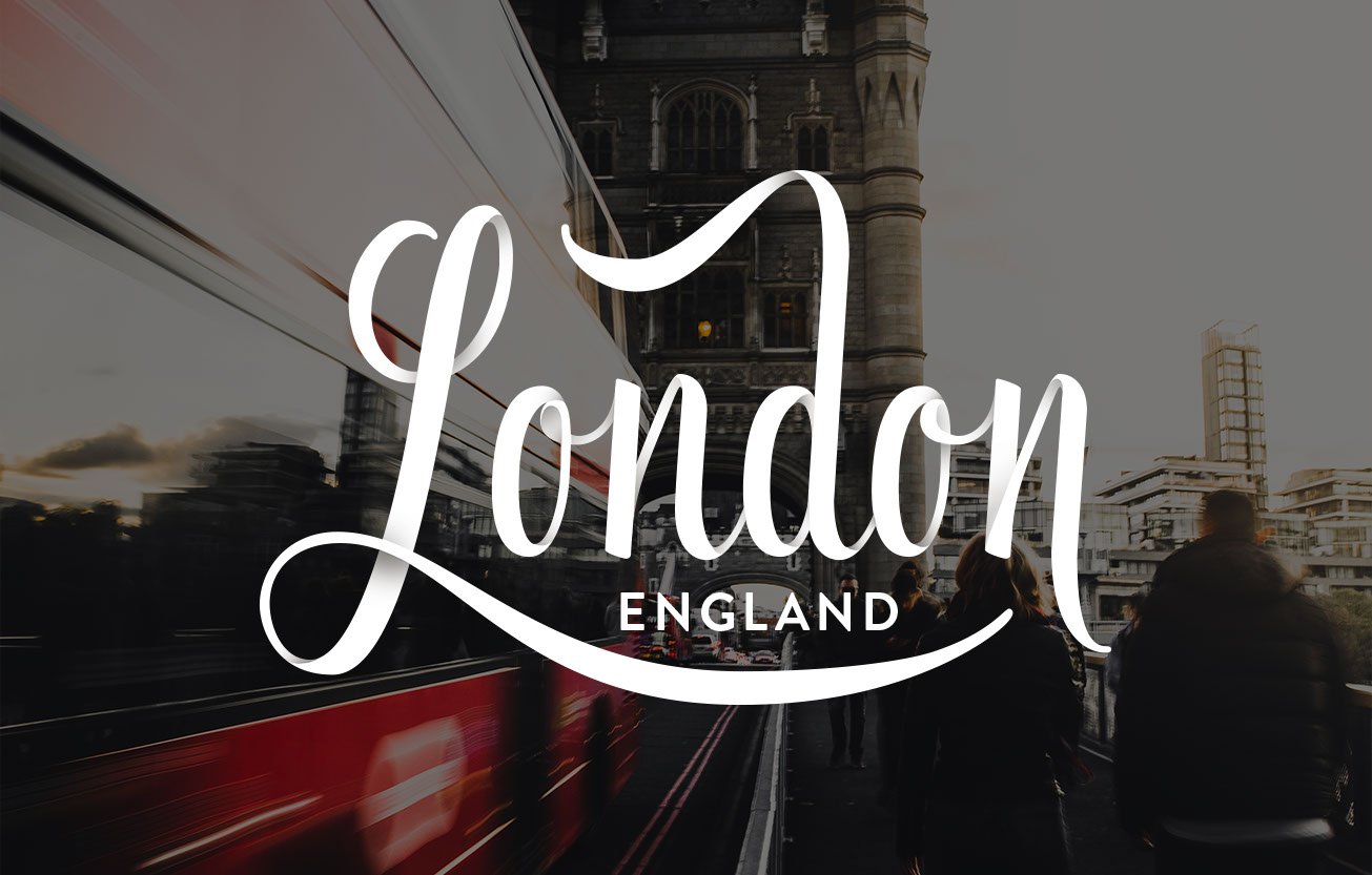 """""""London, England"""" hand lettered"""