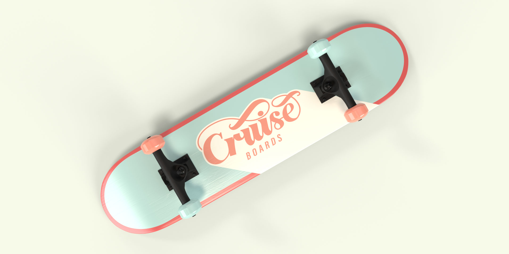 Cruise Boards skateboard graphic viewed from top down