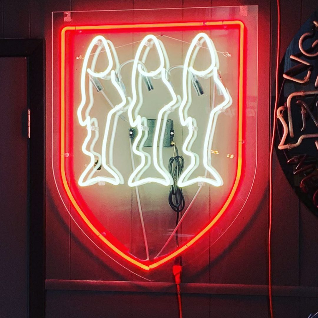 neon sign on clear acrylic