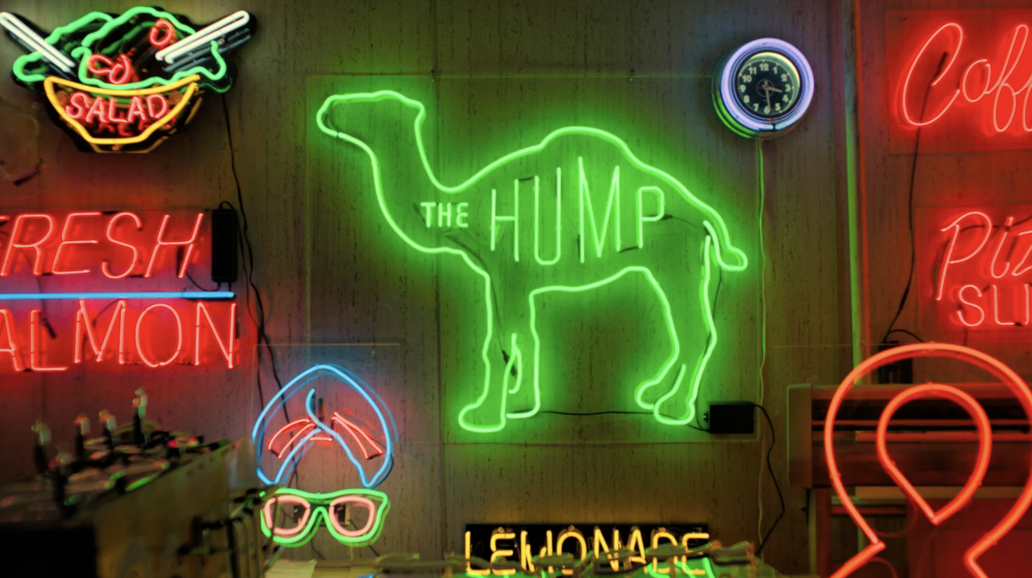 camel neon sign