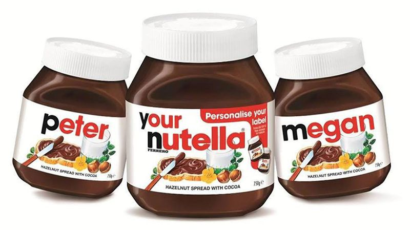 personalized packaging - nutella