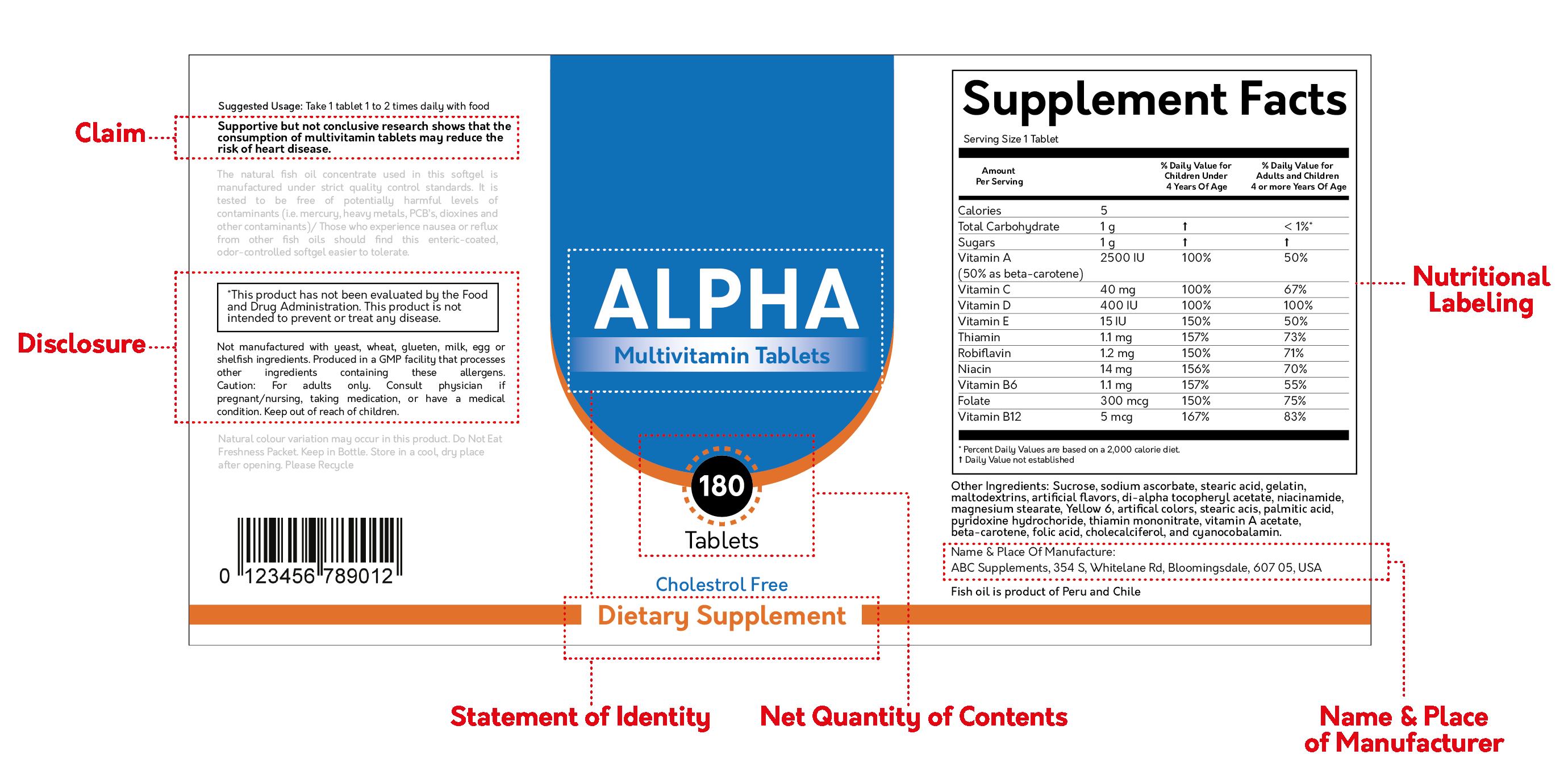 fda supplement label requirements