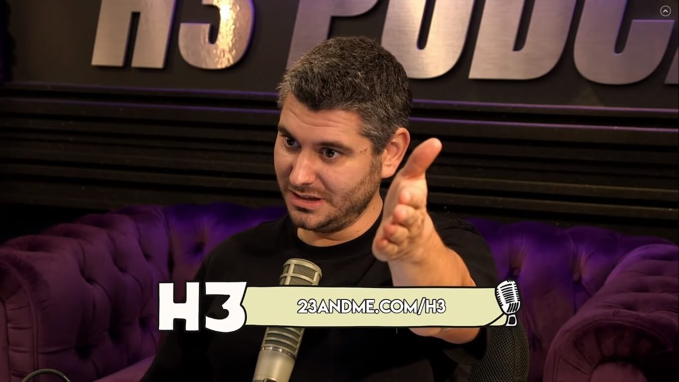 h3h3 host Ethan presenting influencer marketing banner ads on his podcast