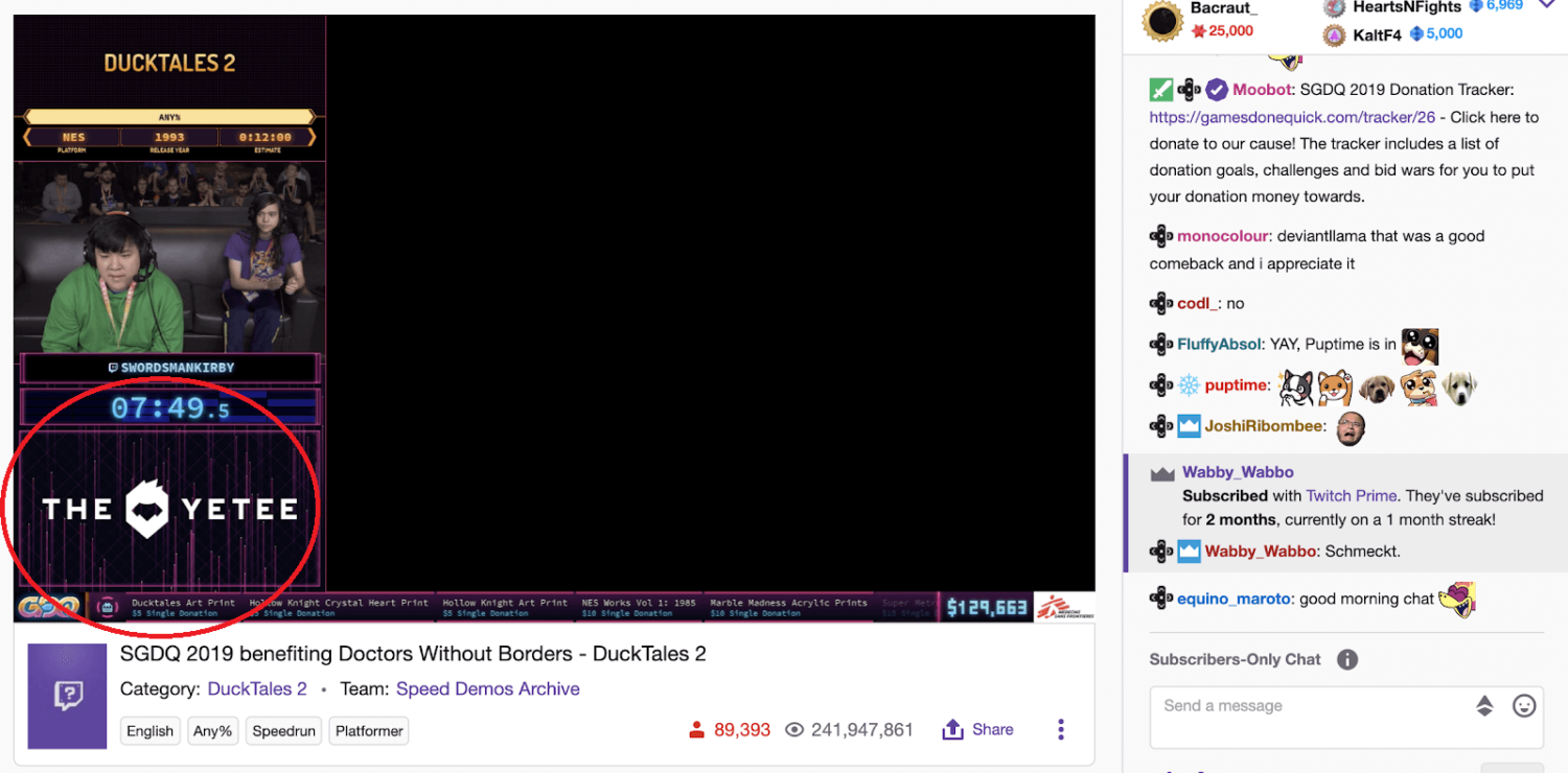 twitch livestream with highlighted on stream banner ad
