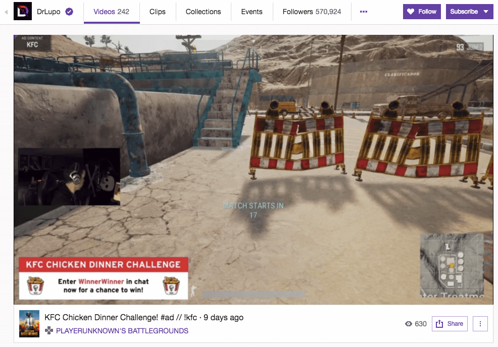 twitch kfc title ad example