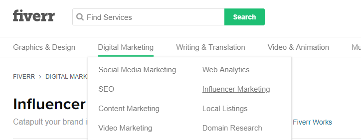 display of how on fiverr you can search for influencer marketing services