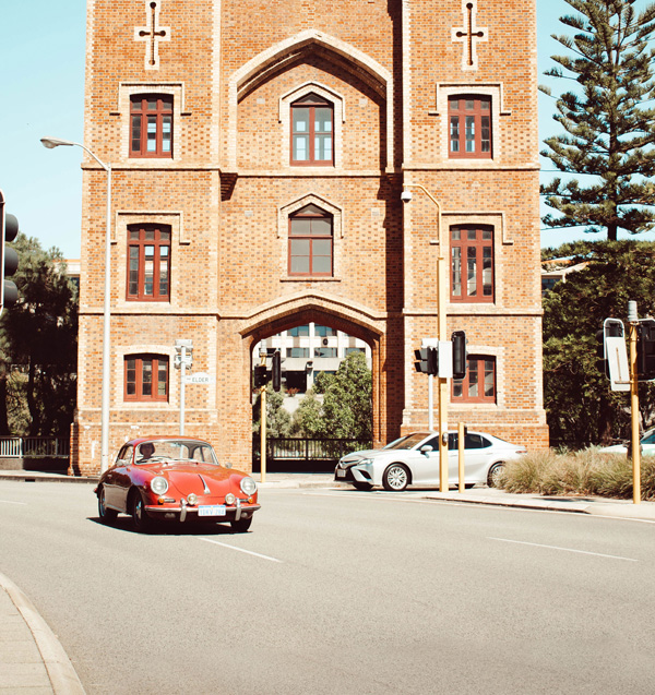 Church in Perth, with a red vintage car out the front.