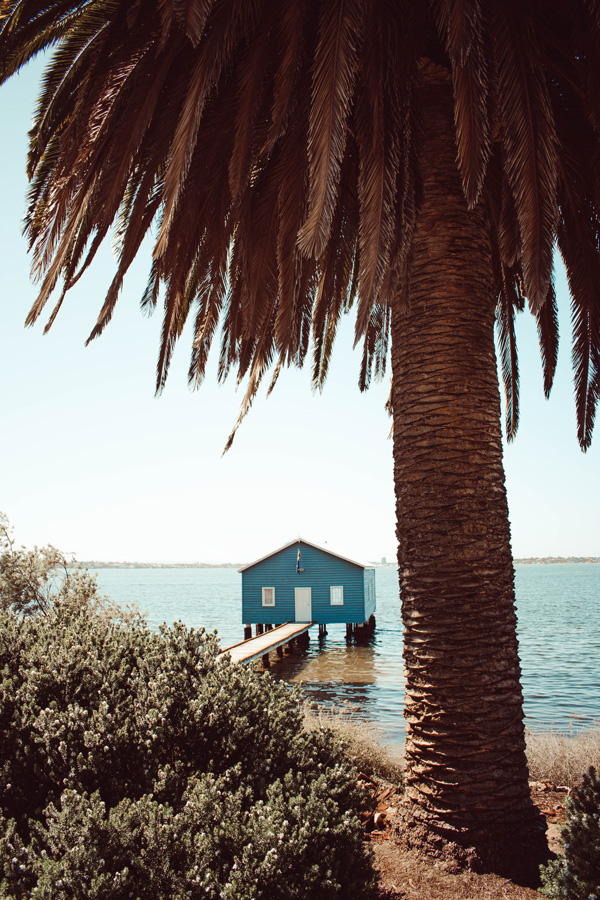 Jetty with a blue house
