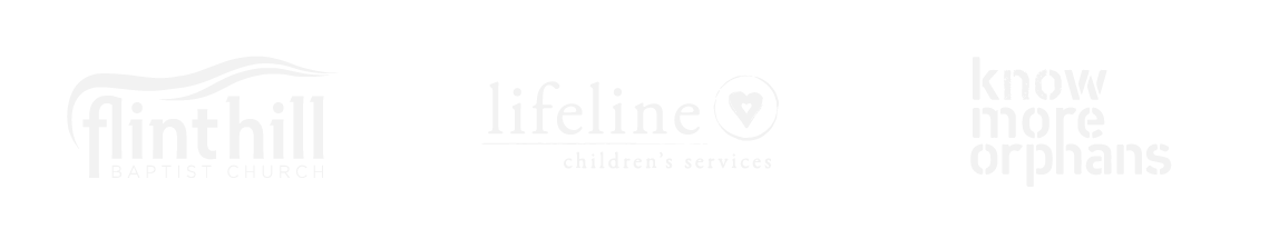 flint hill baptist church, lifeline childrens services, and know more orphans logos