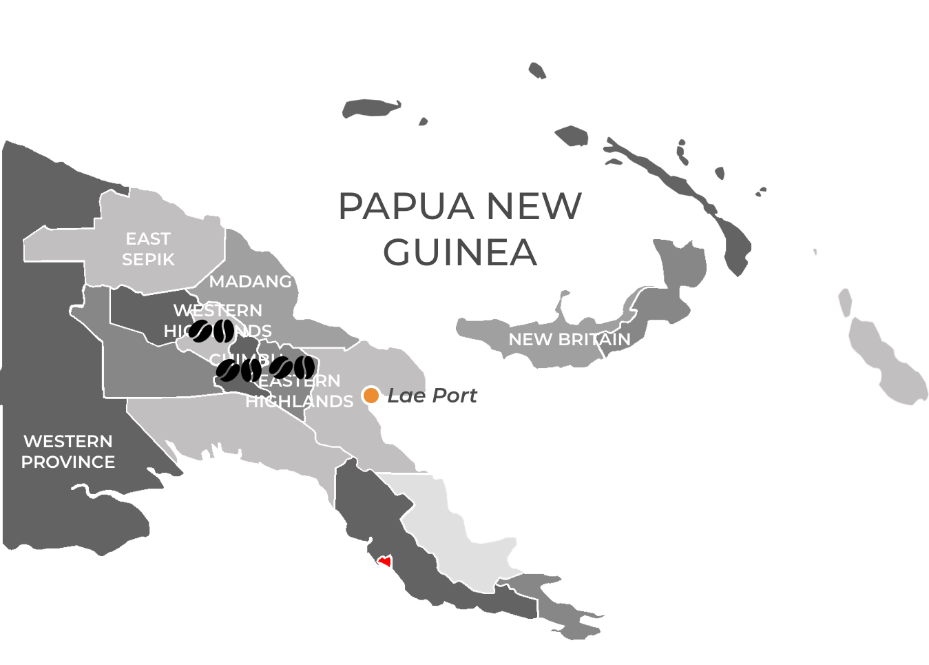 Matahari Papua New Guinea coffee sourcing map