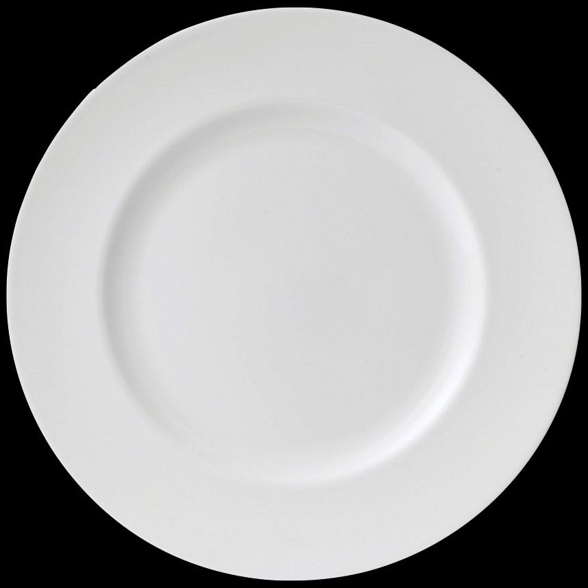A white dinner plate on a black background