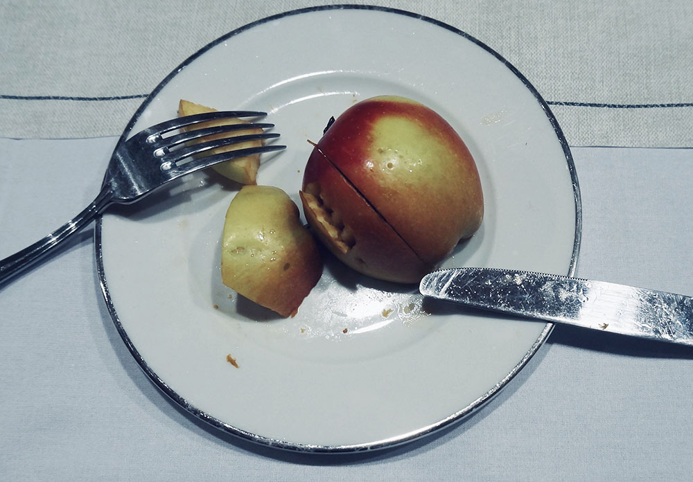 An unfinished dinner plate, the diner was eating apples.