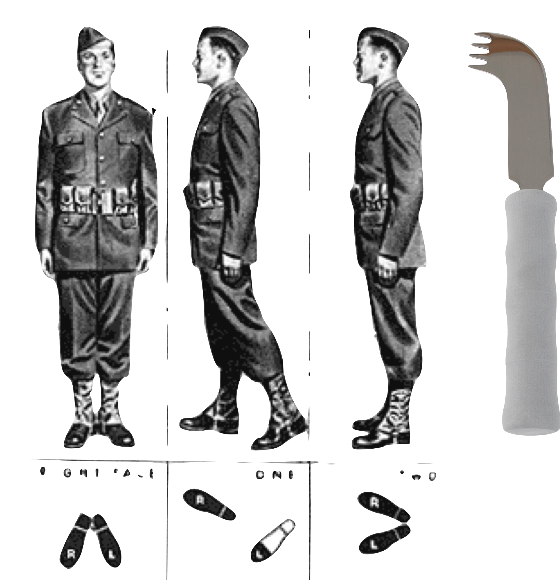 A cut out of three soldiers, followed by a hybrid knife/spoon