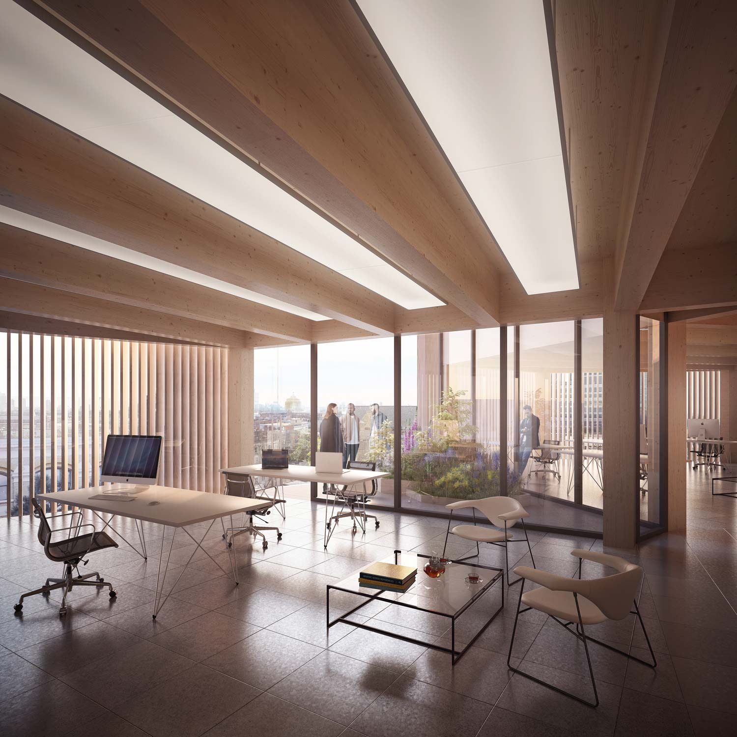 High fidelity design view of development house, an office space in London